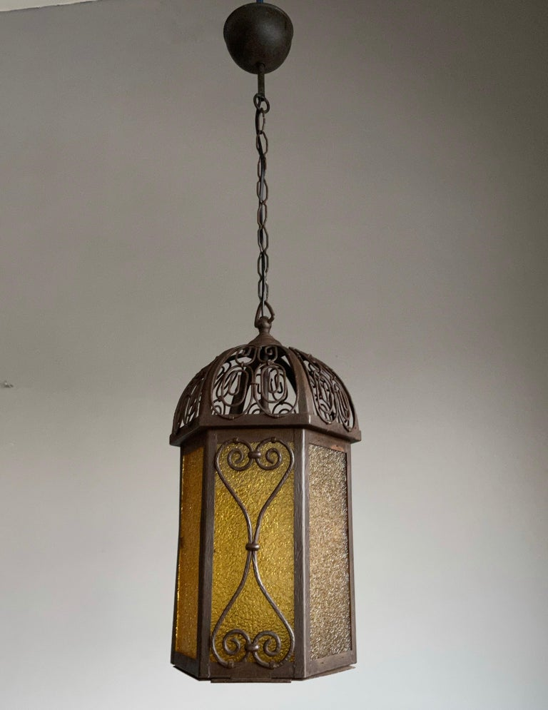 Arts and Crafts Wrought Iron Pendant Light with Cathedral Glass Lantern For Sale 14