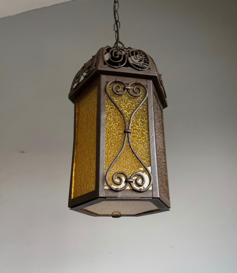 Arts and Crafts Wrought Iron Pendant Light with Cathedral Glass Lantern In Good Condition For Sale In Lisse, NL