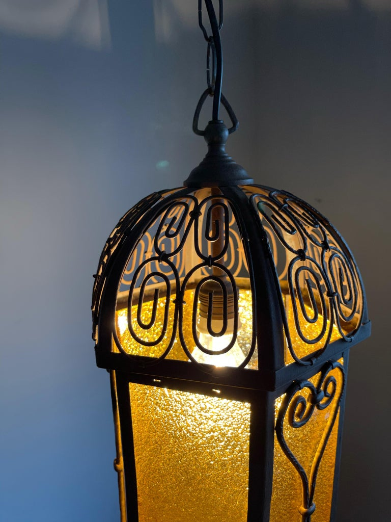 Arts and Crafts Wrought Iron Pendant Light with Cathedral Glass Lantern For Sale 3