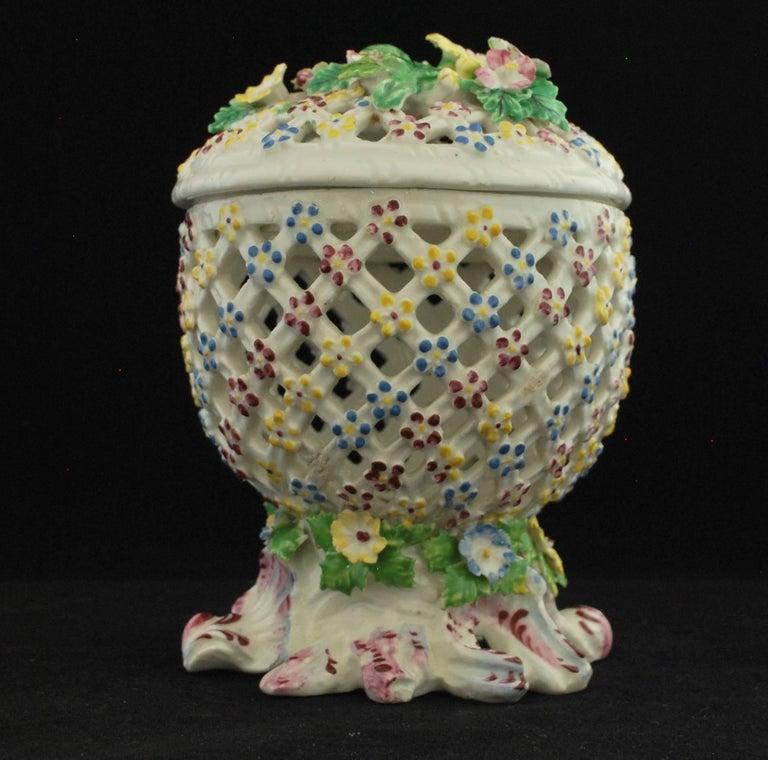 Rococo Decorative Basket, Bow Porcelain Factory, circa 1760 For Sale