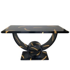 Decorative Black Lacquered and Gold Leaf Console