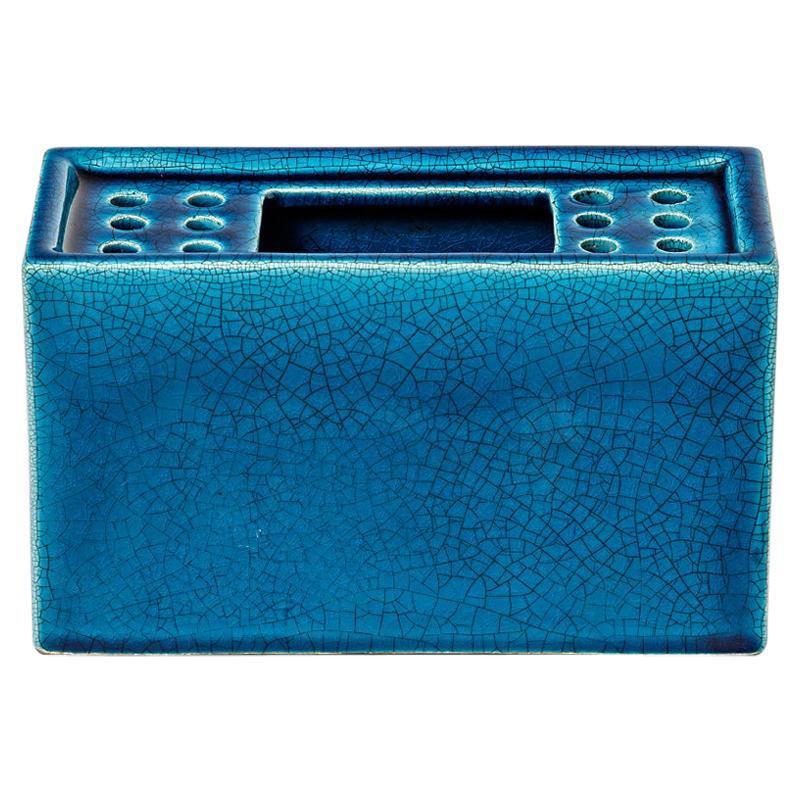 Decorative Blue Ceramic Brick Flower Spike Vase 1950 Attributed to Pol Chambost