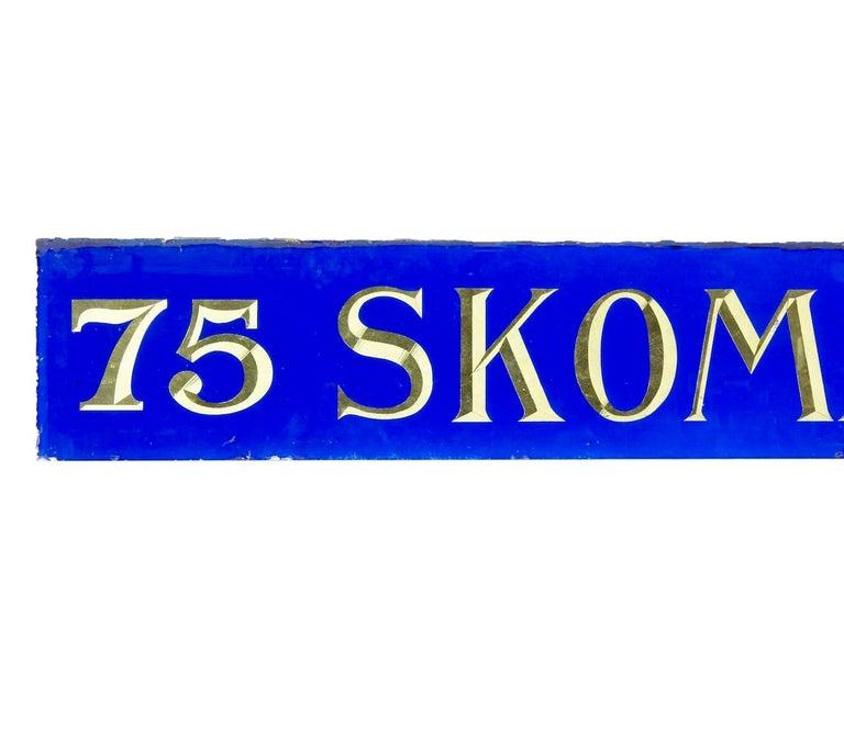 Swedish Decorative Blue Glass and Gold Boutique Shoe Shop Sign For Sale