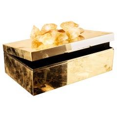Decorative Box in Solid Brass with Natural Quartz Gemstone