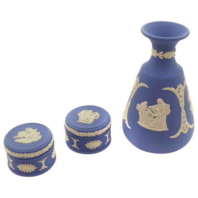 Decorative Boxes and Vase, Wedgwood, Early 20th Century
