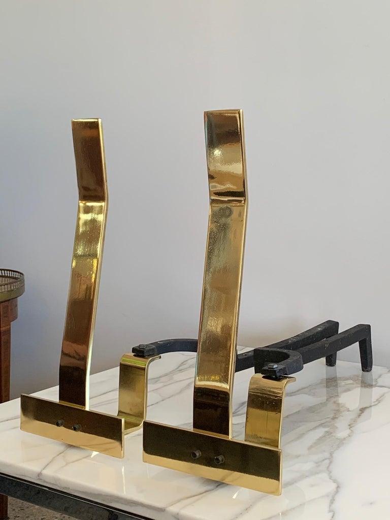 Mid-Century Modern Decorative Brass Andirons For Sale