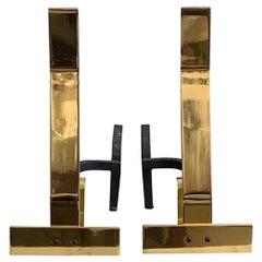 Decorative Brass Andirons
