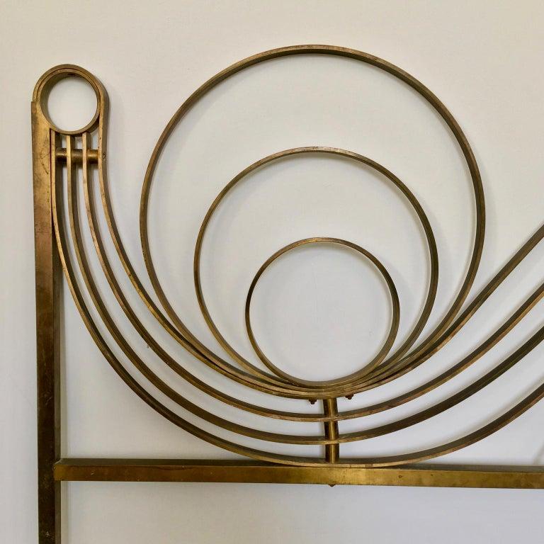 Decorative Brass Headboard, Mid-20th Century, Italian Modern In Fair Condition For Sale In London, GB