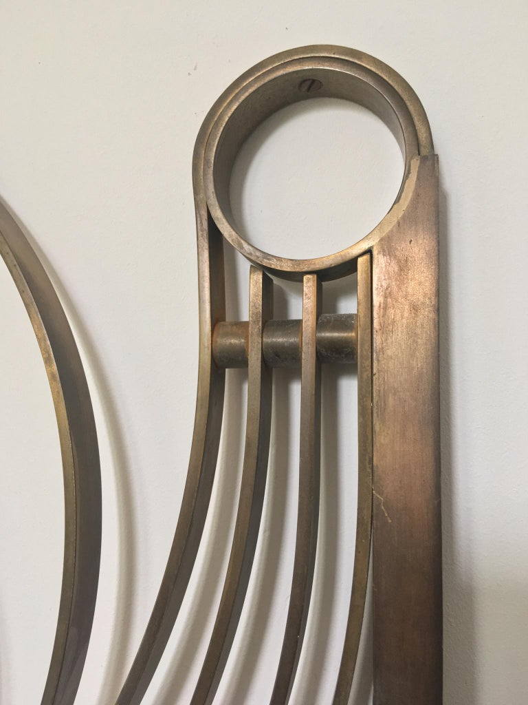 Decorative Brass Headboard, Mid-20th Century, Italian Modern For Sale 1