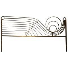 Decorative Brass Headboard, Mid-20th Century, Italian Modern