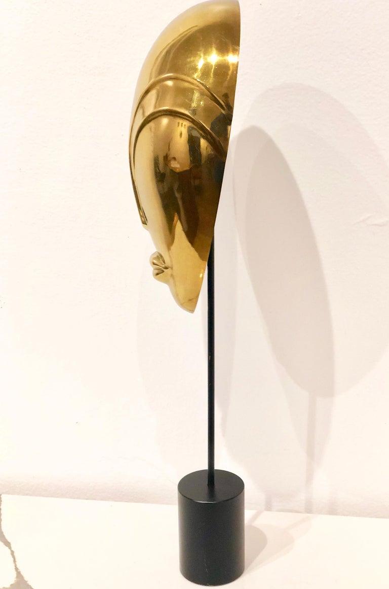 Decorative Brass Mask Sculpture Alien Face Art Deco on Stand For Sale 2