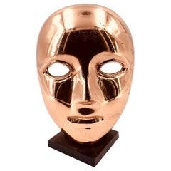 Decorative Brass Mask Sculpture Face Art Deco on Stand