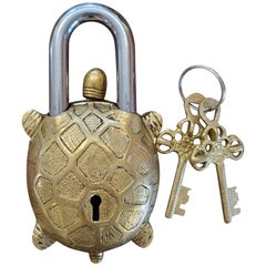 Decorative Brass Turtle India Padlock