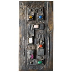 Decorative Bronze Wall Art Set with Large Cabochons, Germany, Mid-20th Century