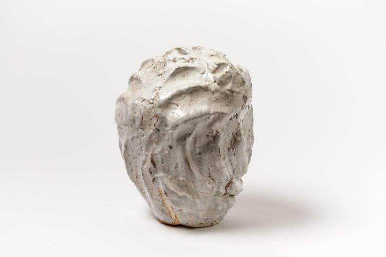 French Decorative Brutalist White Stoneware Ceramic Vase by Hervé Rousseau 21st Century For Sale