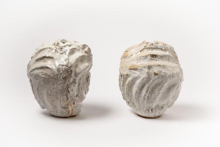 Contemporary Decorative Brutalist White Stoneware Ceramic Vase by Hervé Rousseau 21st Century For Sale