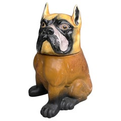 Decorative Bulldog Glazed Ceramic and Leather Sculpture Cookie Jar, 1960s