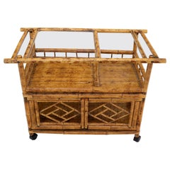 Decorative Burnt Bamboo & Glass Bar Cart