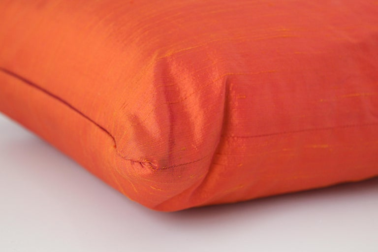 Decorative Burnt Orange Raw Silk Throw Pillow For Sale 3