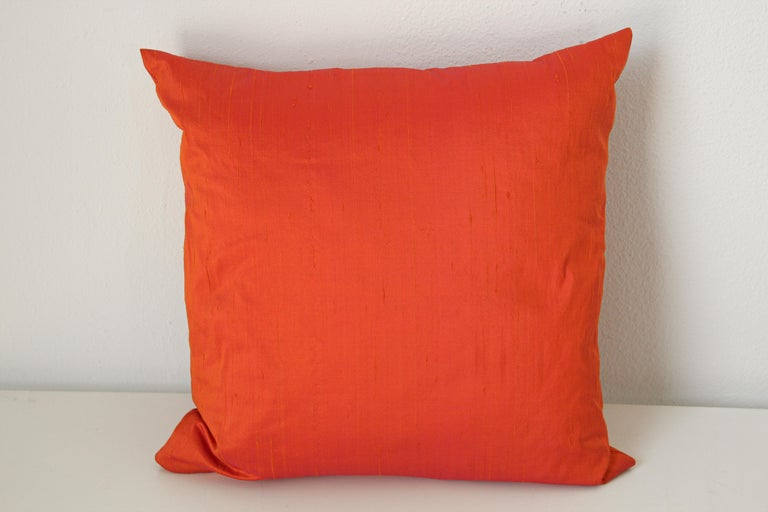 Anglo Raj Decorative Burnt Orange Raw Silk Throw Pillow For Sale
