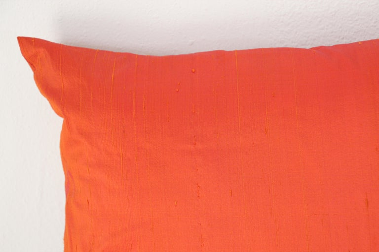 Indian Decorative Burnt Orange Raw Silk Throw Pillow For Sale