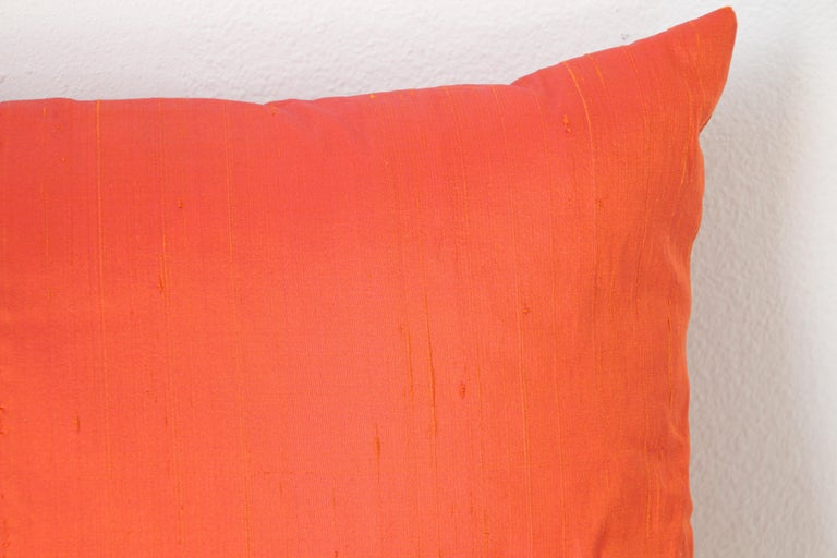 Hand-Crafted Decorative Burnt Orange Raw Silk Throw Pillow For Sale