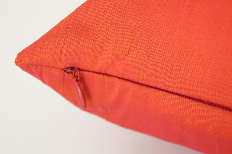 Decorative Burnt Orange Raw Silk Throw Pillow For Sale 1