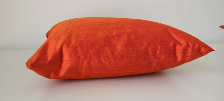 Decorative Burnt Orange Raw Silk Throw Pillow For Sale 2