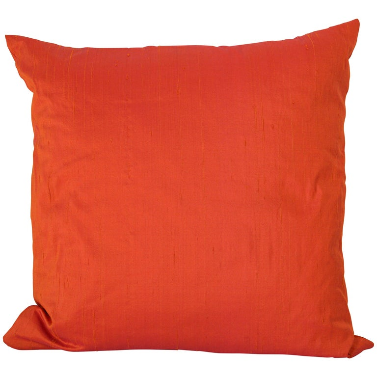 Decorative Burnt Orange Raw Silk Throw Pillow For Sale