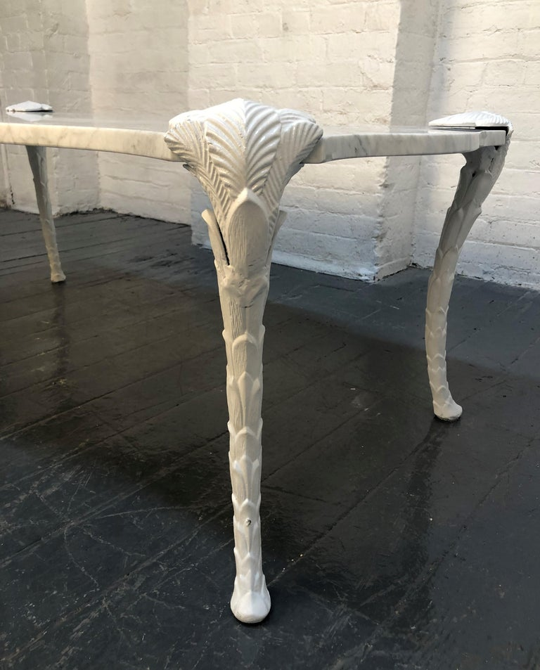 Lacquered Decorative Carrara Marble Top Coffee Table with Floral Legs For Sale