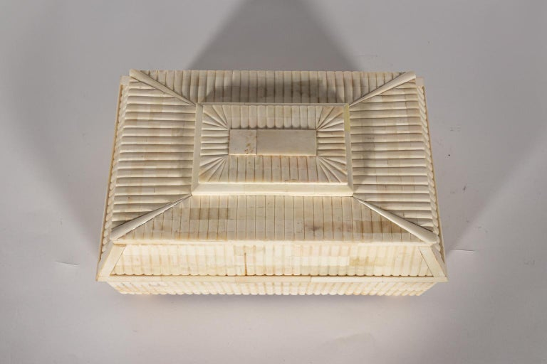 20th Century Decorative Carved Bone Box For Sale