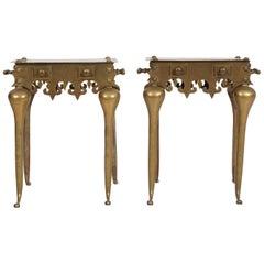 Decorative Cast Brass End Tables