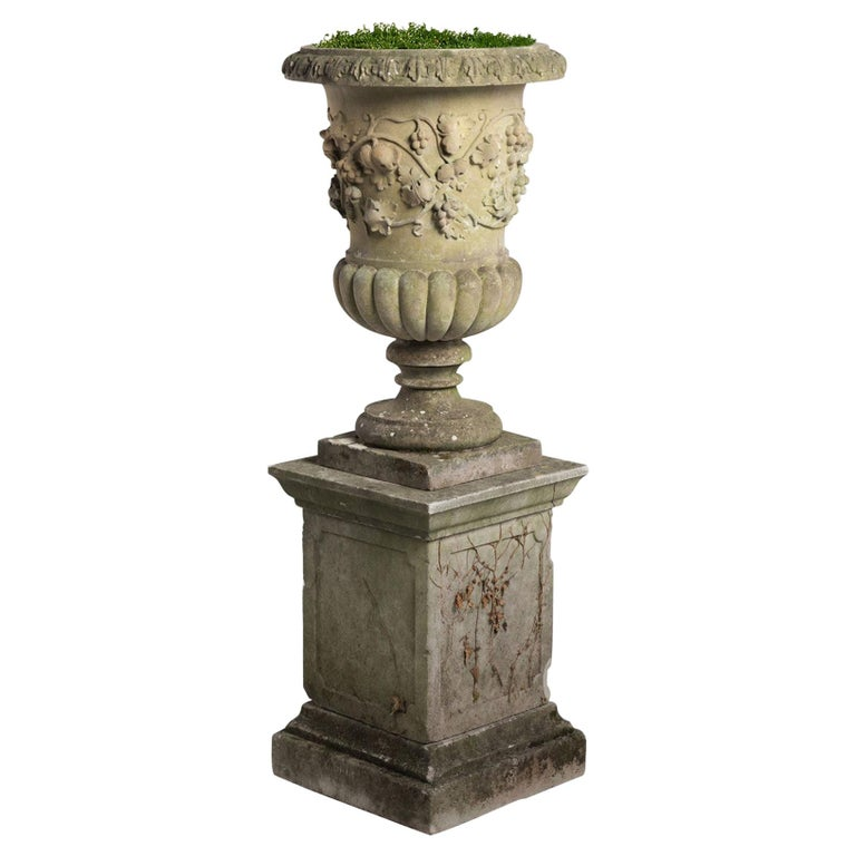 Decorative Cast Stone Urn with Pedestal, circa 1950 For Sale