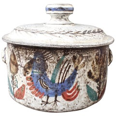 Decorative Ceramic Casserole Dish with Lid by Gustave Reynaud, Le Mûrier, 1950s