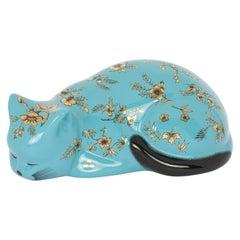 Decorative Ceramic Cat Bitossi Fiorato, Gold Flowers on Turquoise
