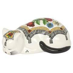 Decorative Ceramic Cat Bitossi Mantellato on White