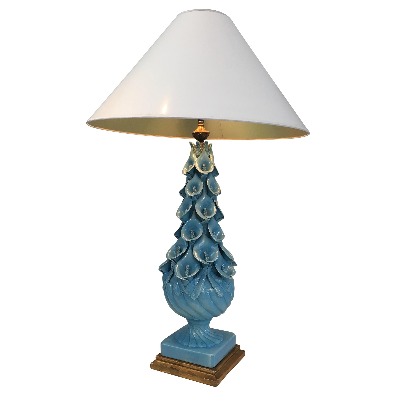 Decorative Ceramic Lamp with Arums Decor, French, circa 1950