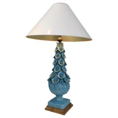 Decorative Ceramic Lamp with Arums Decor, French, circa 1950