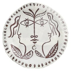 Decorative Ceramic Platter with Faces in the Manner of Jean Cocteau