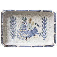Decorative Ceramic Rectangular Dish by Gustave Reynaud, Le Mûrier, 'circa 1950s'