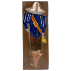 Decorative Ceramic Relief with a Musketeer in Hollywood Regency Style