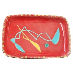 Decorative Ceramic Tray by Charles René Neveux for Cerenne Workshop, c. 1950s