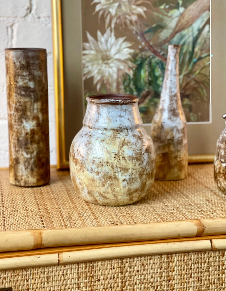 Ceramic decorative vase by Alexandre Kostanda, Vallauris, France (circa 1960s). In his trademark natural clay and rustic style, Kostanda created beautifully original vessels, such as vases, pitchers and pots which were both utilitarian and stunning