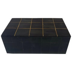 Decorative Charcoal Bone Box with Brass Inlay, India, Contemporary