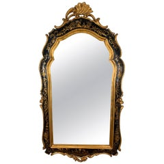 Decorative Chinoiserie Gold Gilt and Black Asian Style Mirror