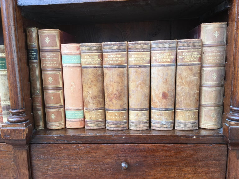 Decorative Collection of 124 Swedish Vintage Leather-Bound Books For Sale 7