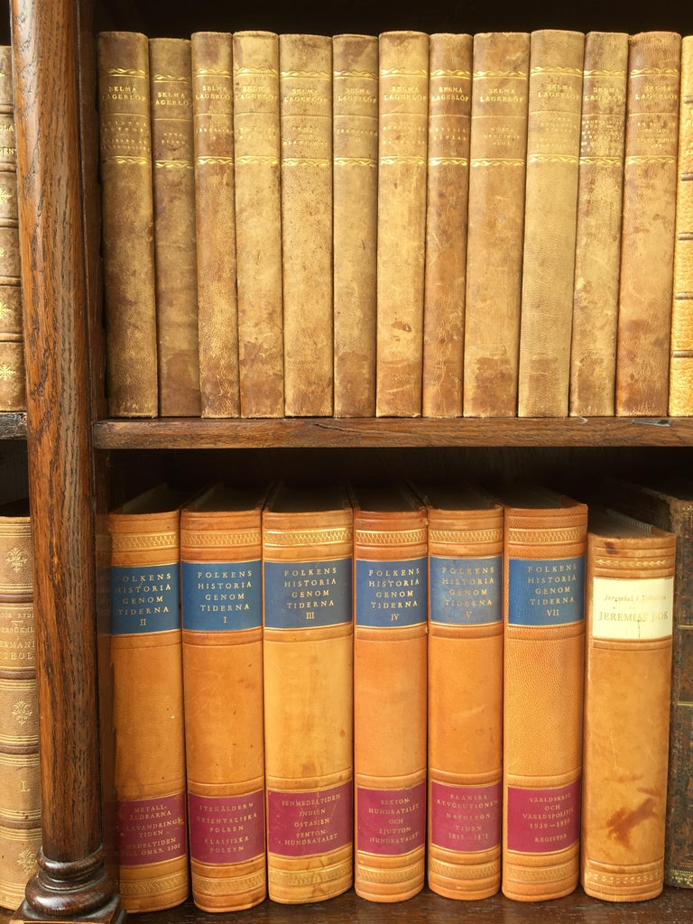 Decorative Collection of 124 Swedish Vintage Leather-Bound Books For Sale 8