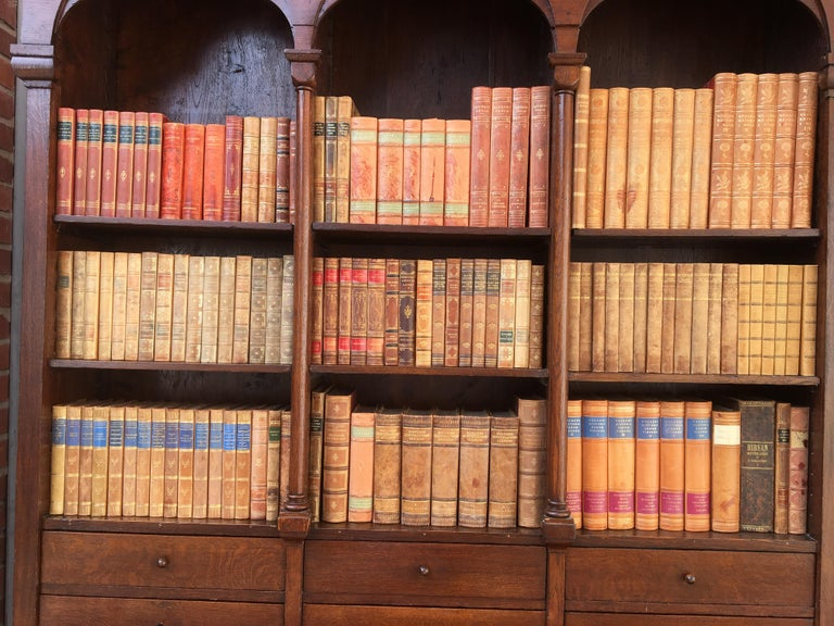 Decorative Collection of 124 Swedish Vintage Leather-Bound Books For Sale 9