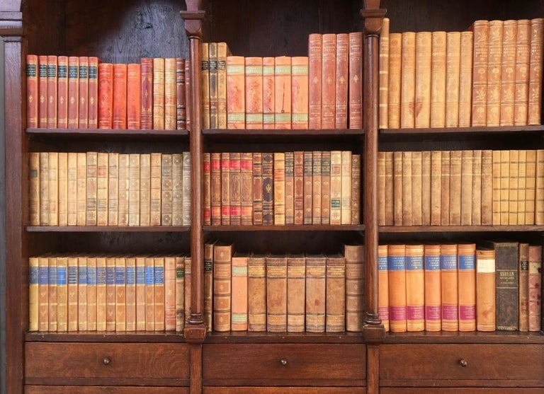 Decorative Collection of 124 Swedish Vintage Leather-Bound Books For Sale 10