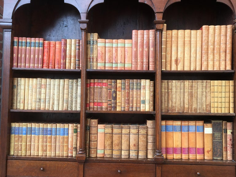 Decorative Collection of 124 Swedish Vintage Leather-Bound Books For Sale 11